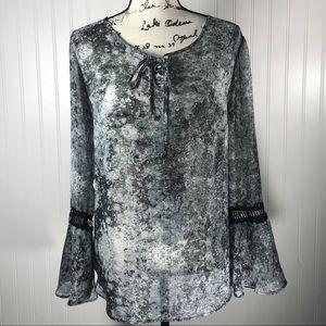 Alyx Black / Gray Sheer Peasant Top